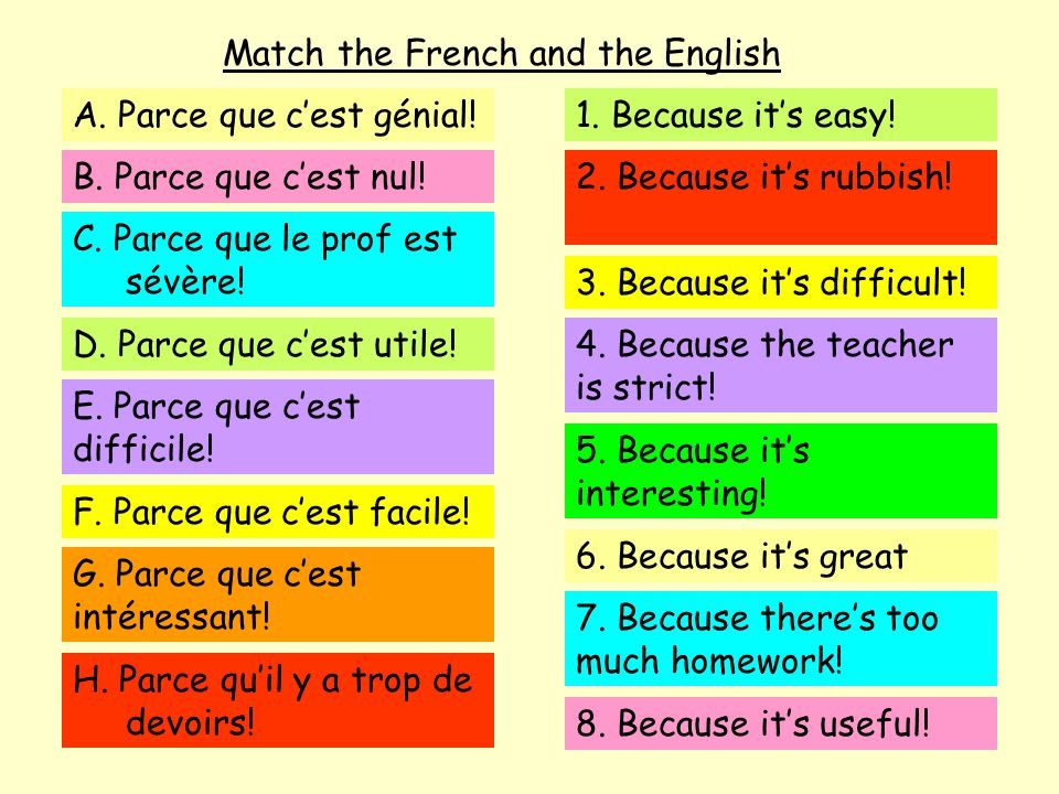 Match the French and the English