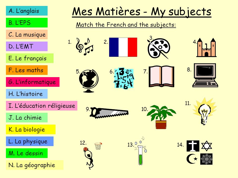 Mes Matières - My subjects