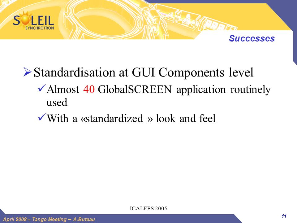 Standardisation at GUI Components level