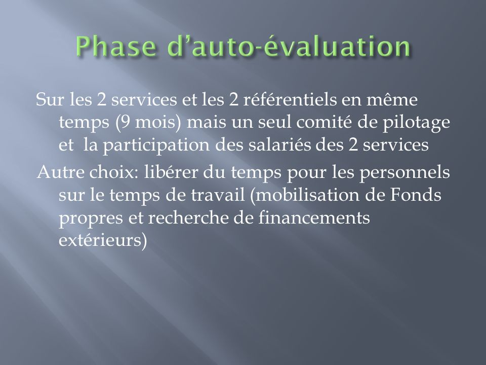 Phase d'auto-évaluation