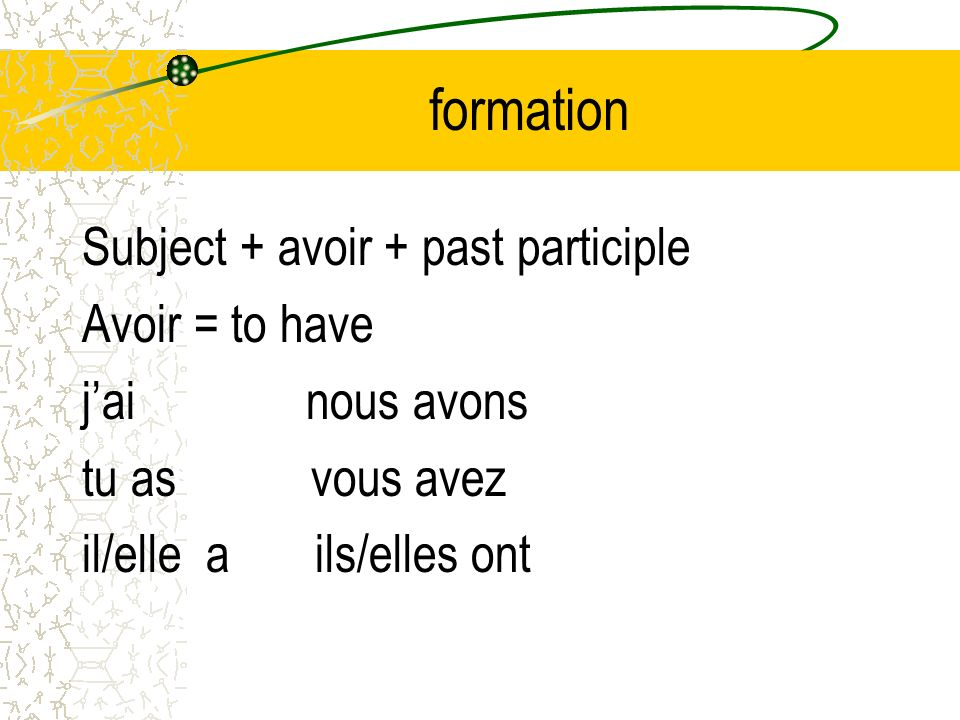 formation Subject + avoir + past participle Avoir = to have
