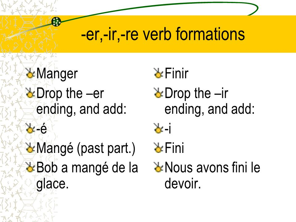-er,-ir,-re verb formations