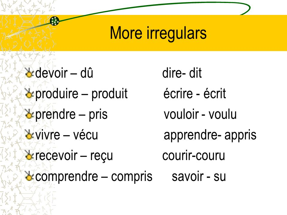 More irregulars devoir – dû dire- dit