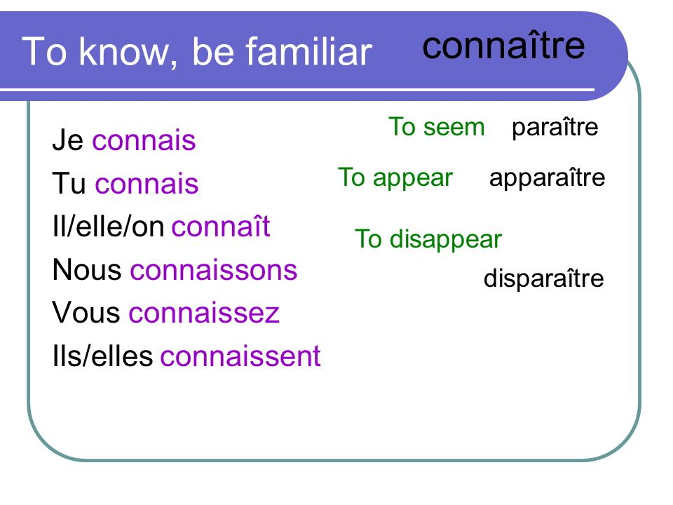 connaître To know, be familiar Je connais Tu connais