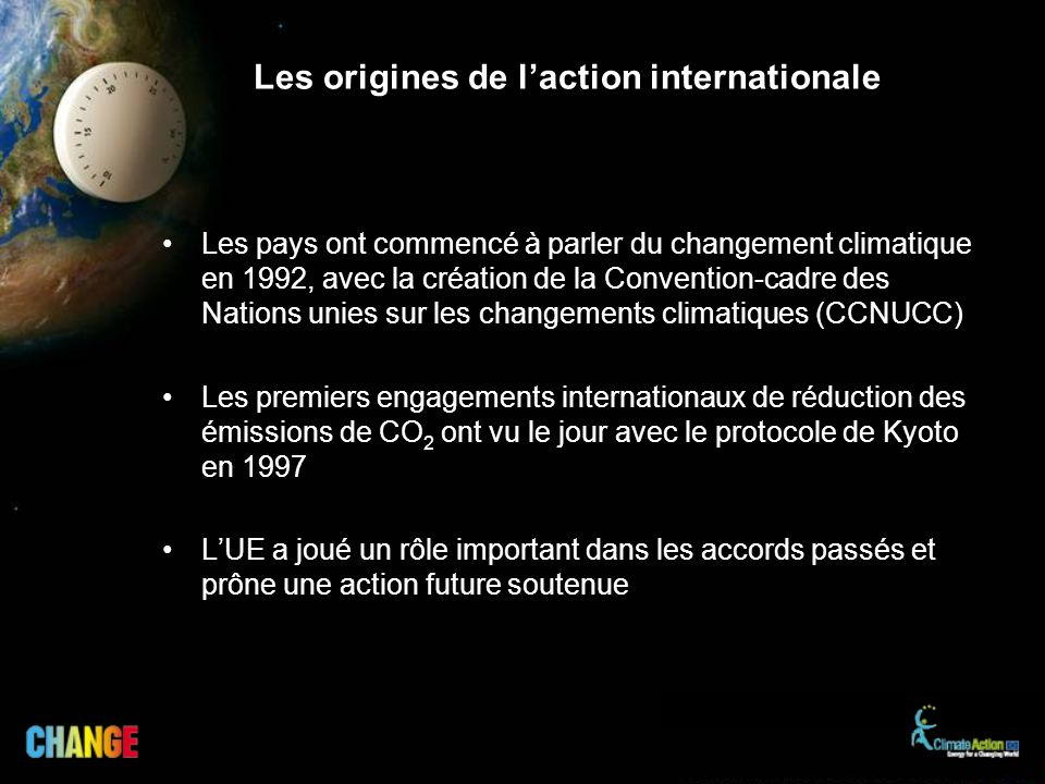 Les origines de l'action internationale