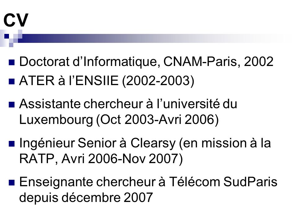 CV Doctorat d'Informatique, CNAM-Paris, 2002