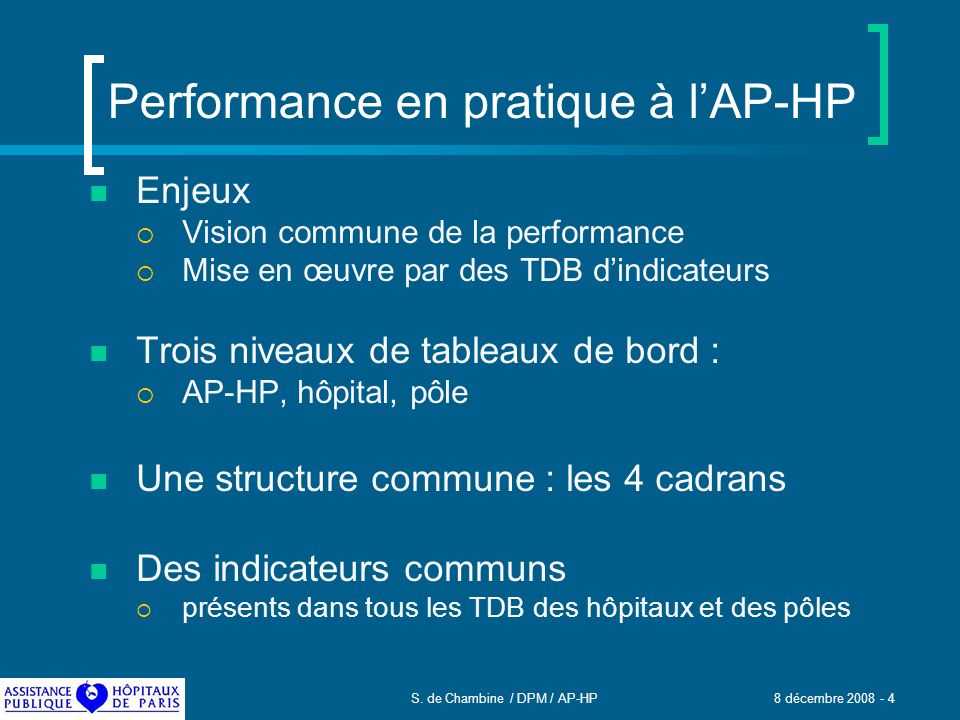 Performance en pratique à l'AP-HP