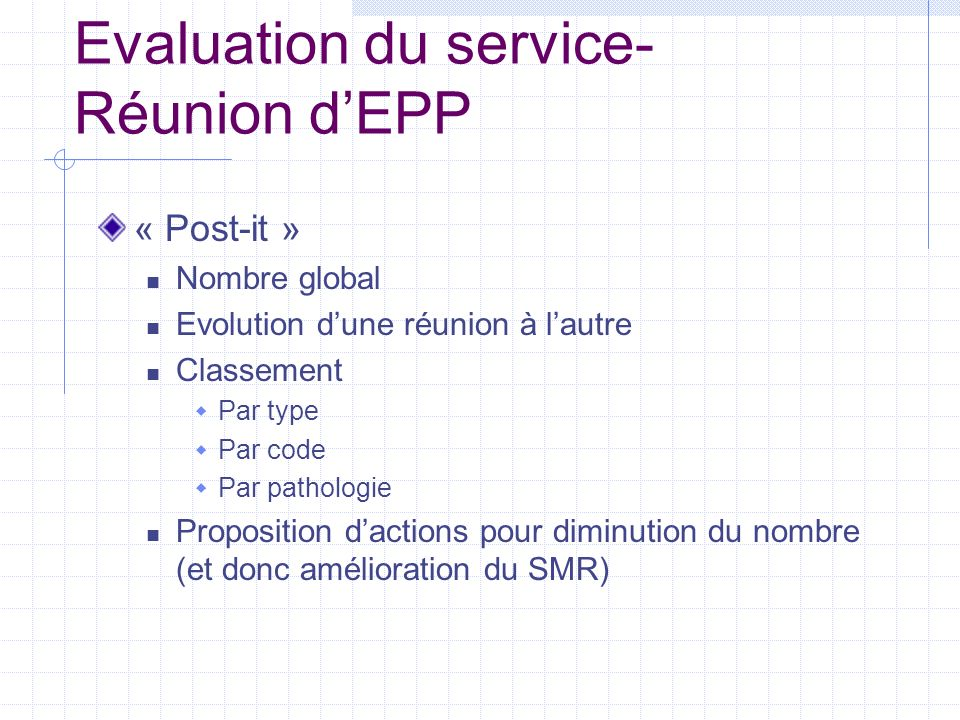Evaluation du service- Réunion d'EPP