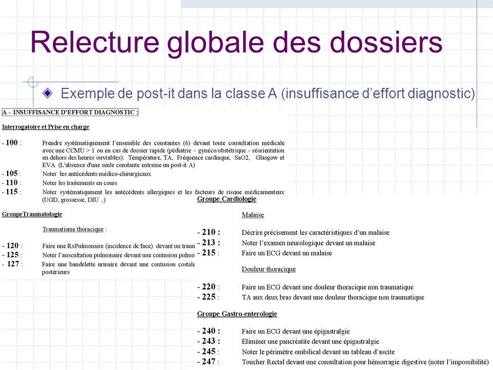 Relecture globale des dossiers
