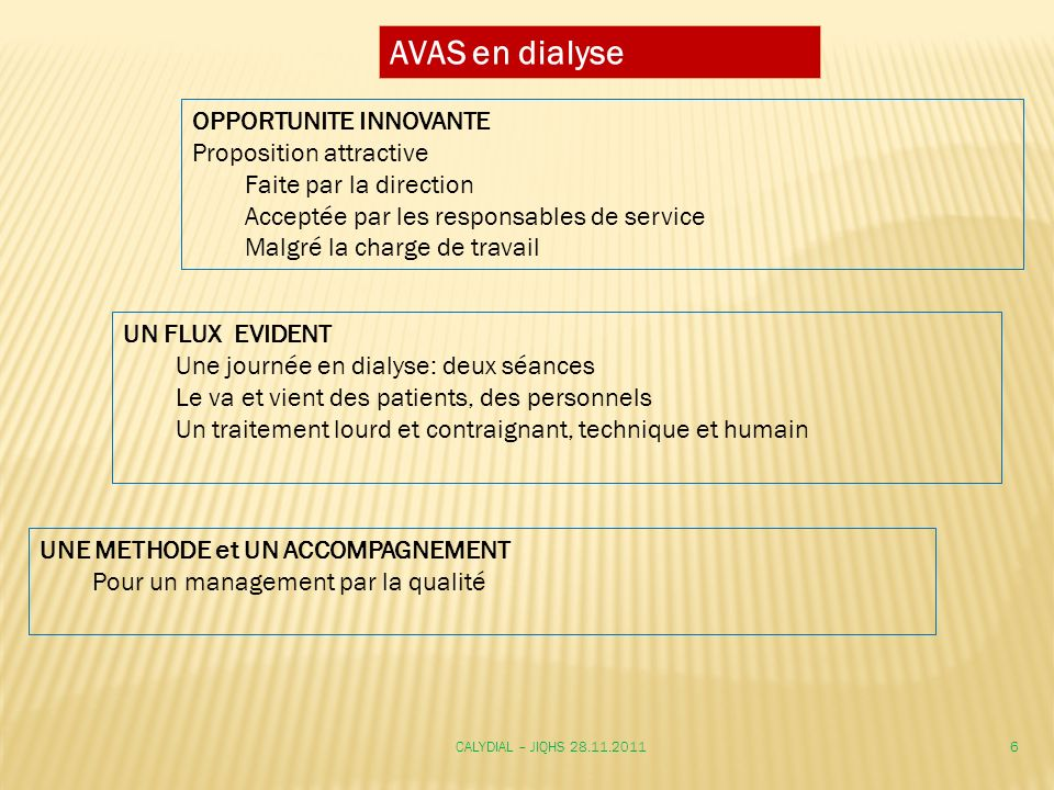 AVAS en dialyse OPPORTUNITE INNOVANTE Proposition attractive