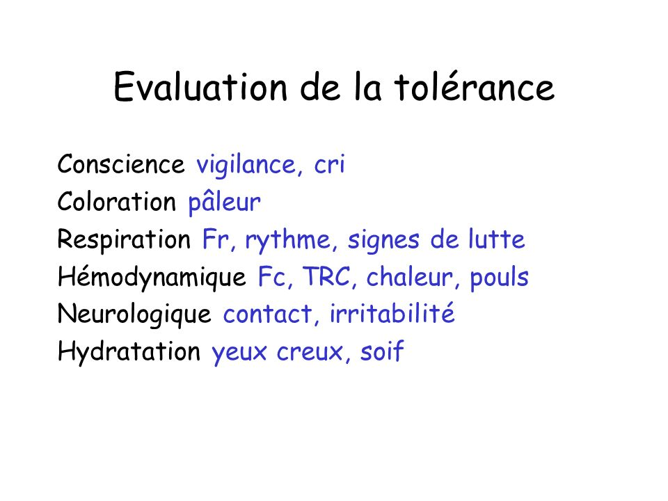 Evaluation de la tolérance