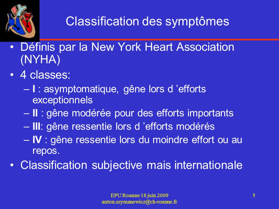 Classification des symptômes