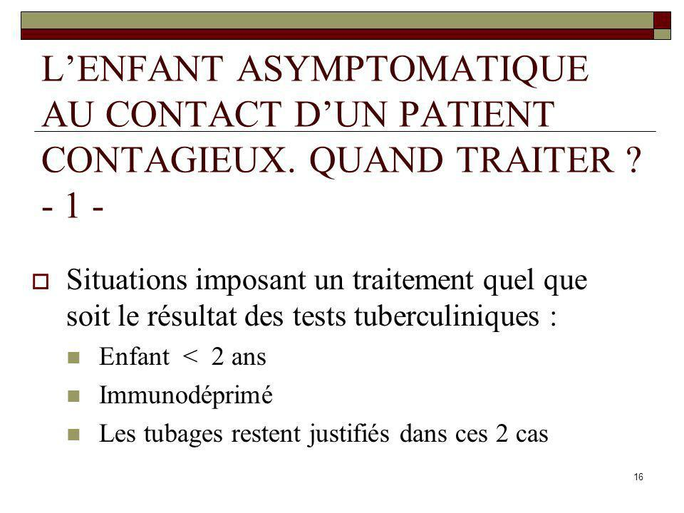 L'ENFANT ASYMPTOMATIQUE AU CONTACT D'UN PATIENT CONTAGIEUX