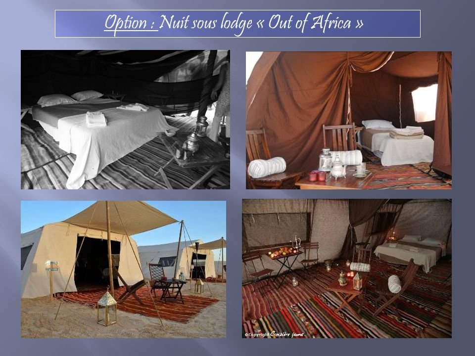 Option : Nuit sous lodge « Out of Africa »