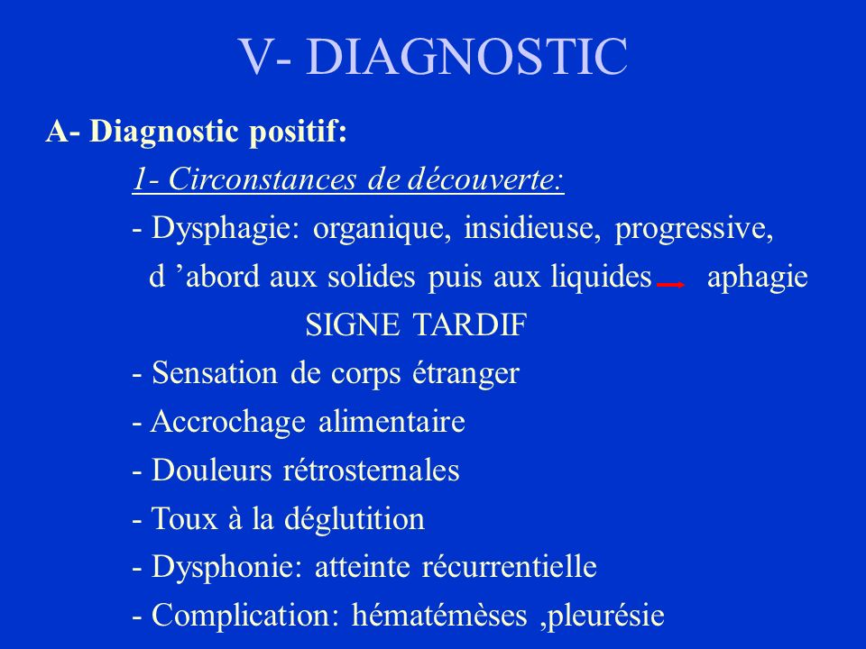 V- DIAGNOSTIC A- Diagnostic positif: 1- Circonstances de découverte: