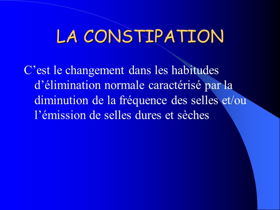 LA CONSTIPATION