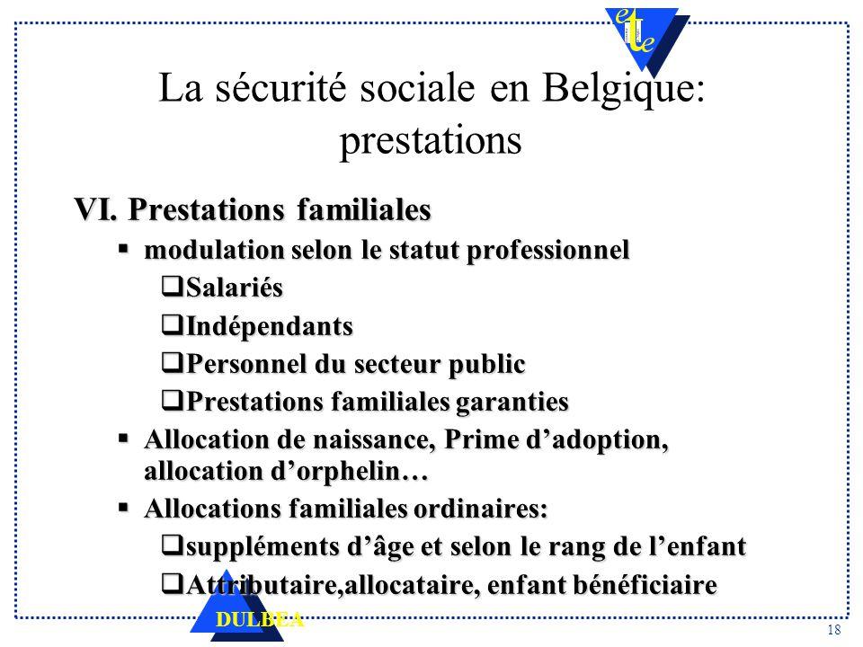 36b0594a73b 18 La sécurité sociale en Belgique  prestations. VI. Prestations familiales  modulation selon le statut professionnel Salariés ...
