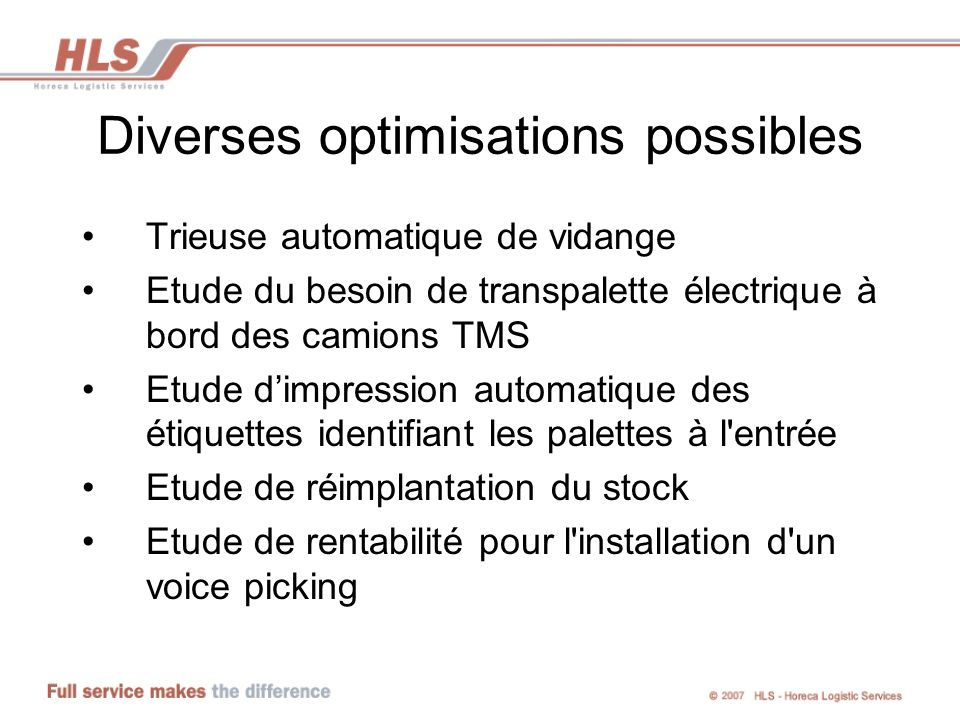 Diverses optimisations possibles
