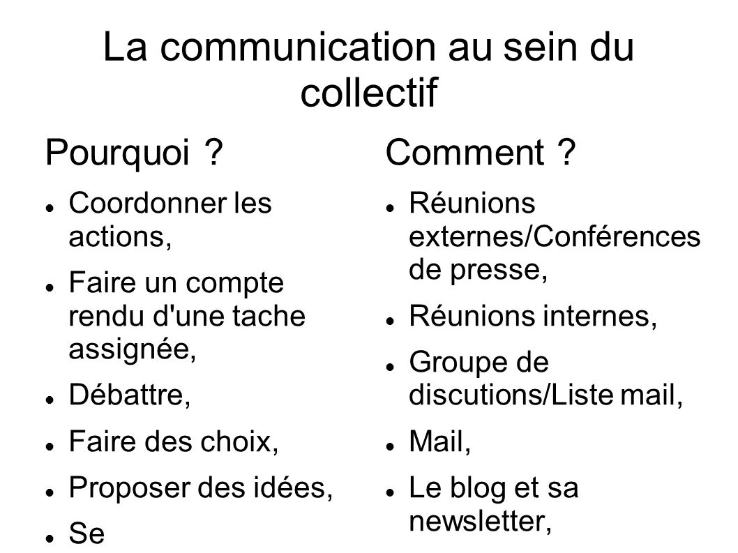 La communication au sein du collectif