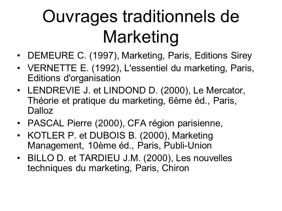 Ouvrages traditionnels de Marketing