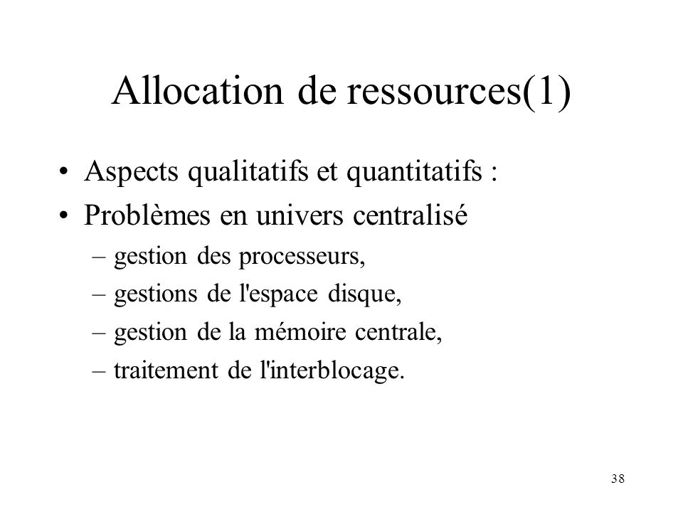 Allocation de ressources(1)