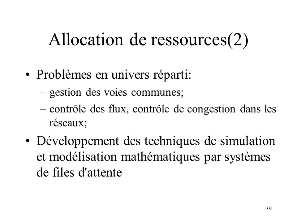 Allocation de ressources(2)