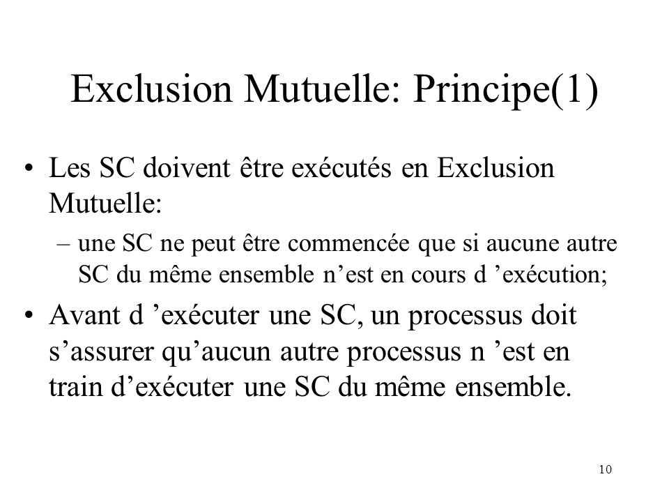 Exclusion Mutuelle: Principe(1)