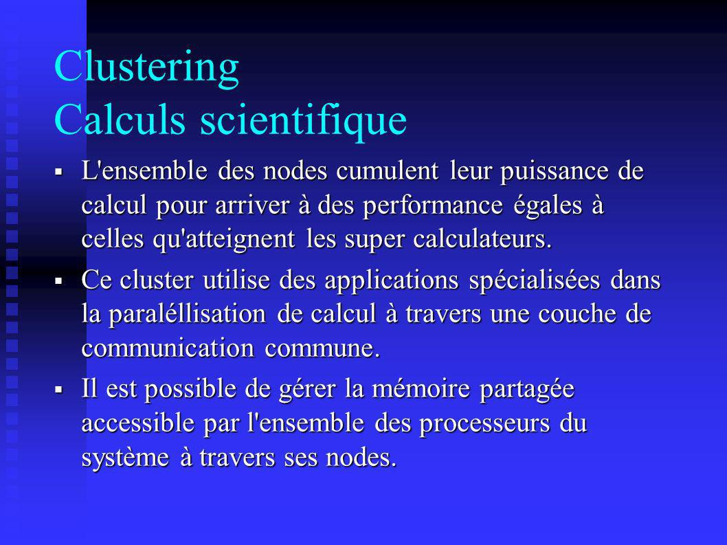 Clustering Calculs scientifique