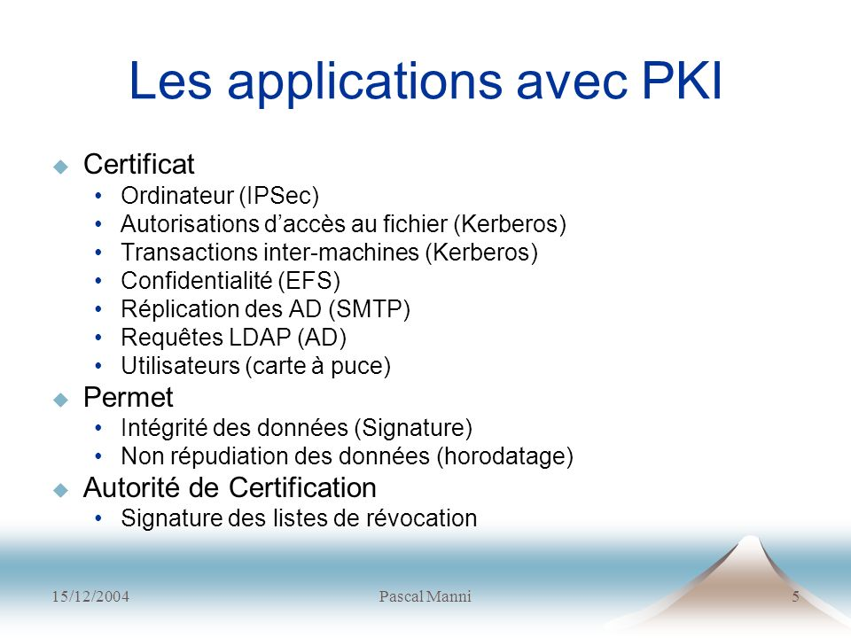 Les applications avec PKI