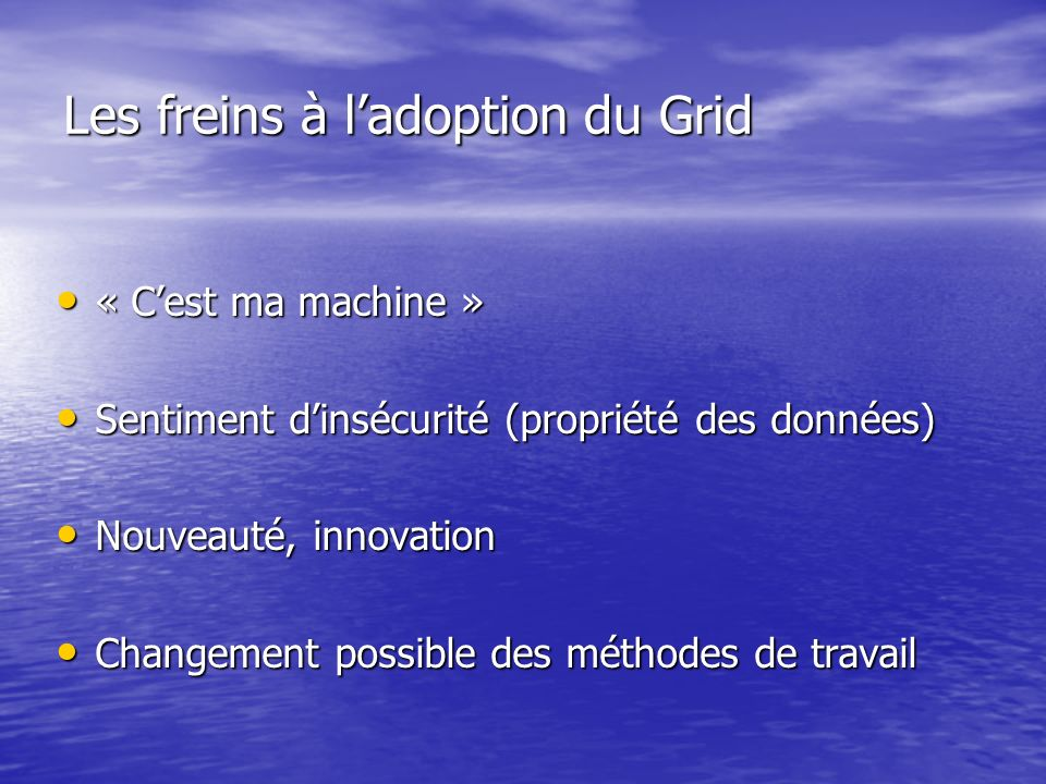 Les freins à l'adoption du Grid