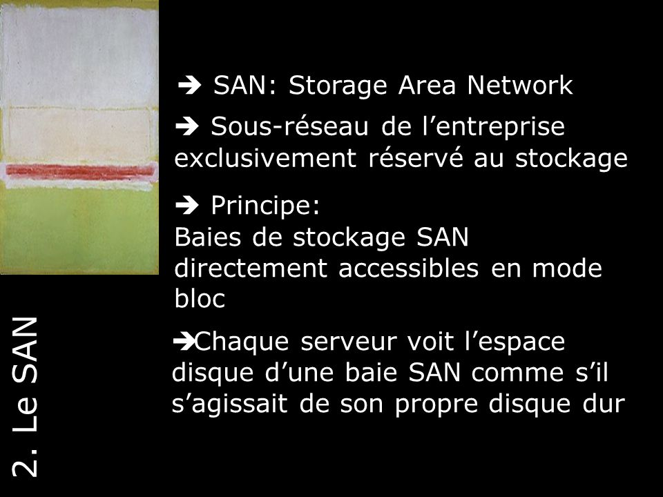 2. Le SAN  SAN: Storage Area Network