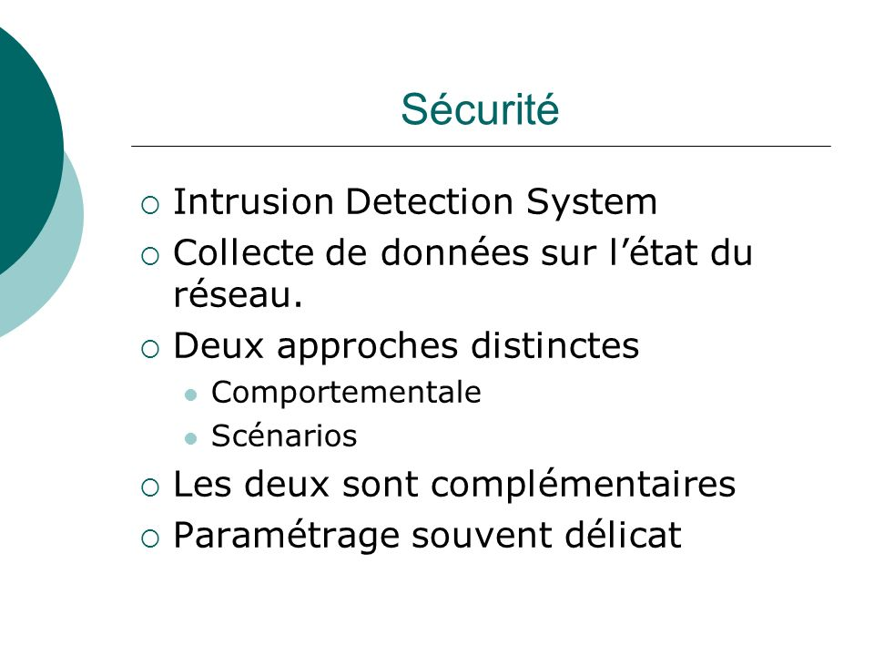 Sécurité Intrusion Detection System