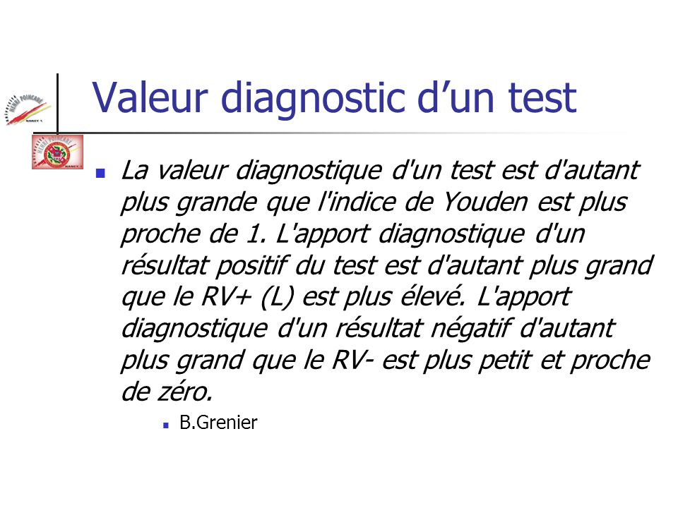 Valeur diagnostic d'un test