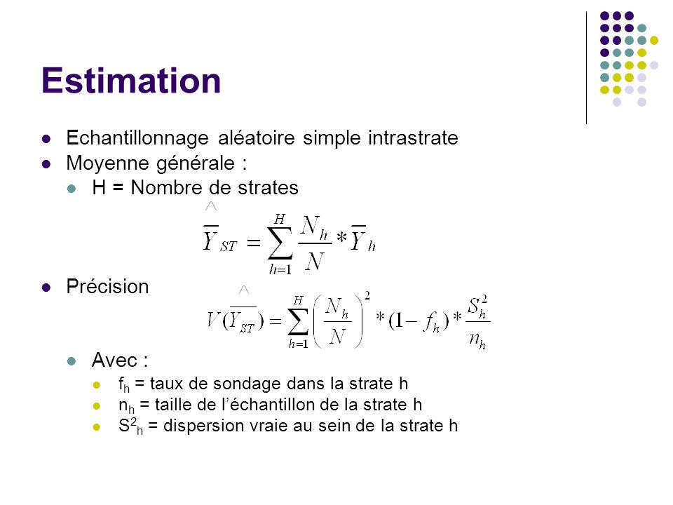 Estimation Echantillonnage aléatoire simple intrastrate
