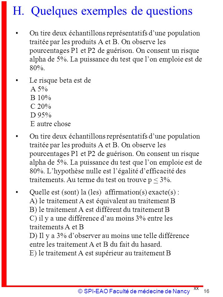 H. Quelques exemples de questions