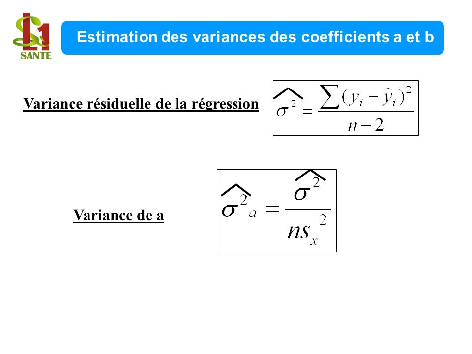 Estimation des variances des coefficients a et b