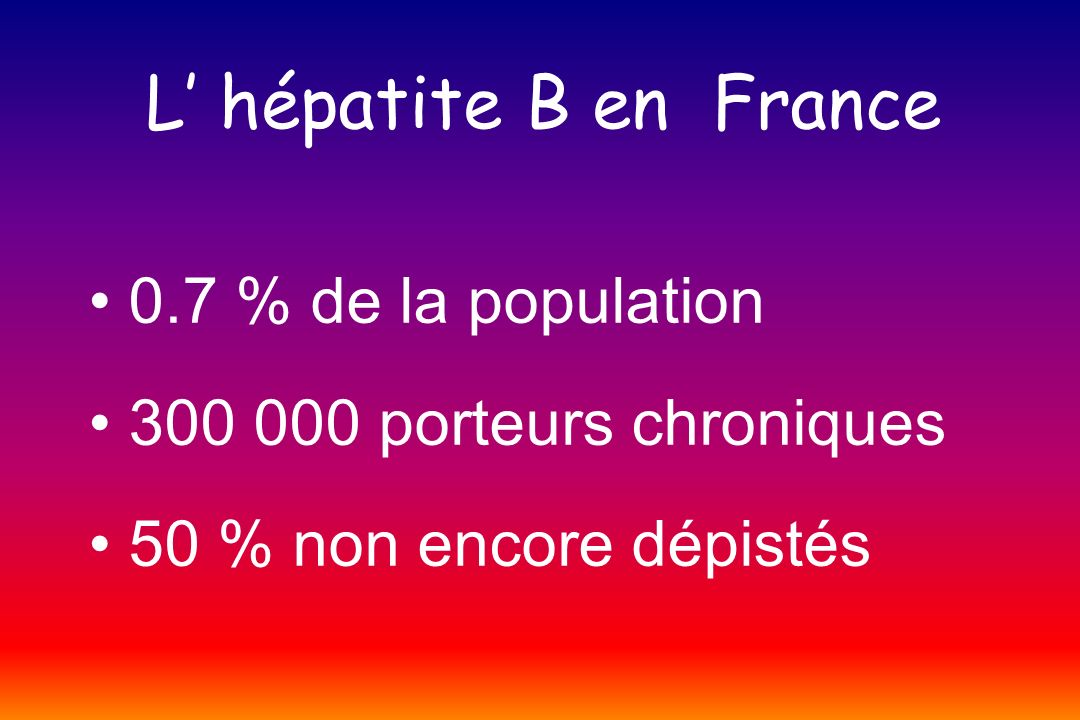 L' hépatite B en France • 0.7 % de la population