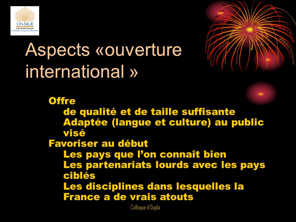Aspects «ouverture international »