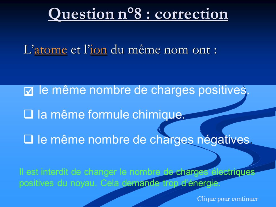 Question n°8 : correction