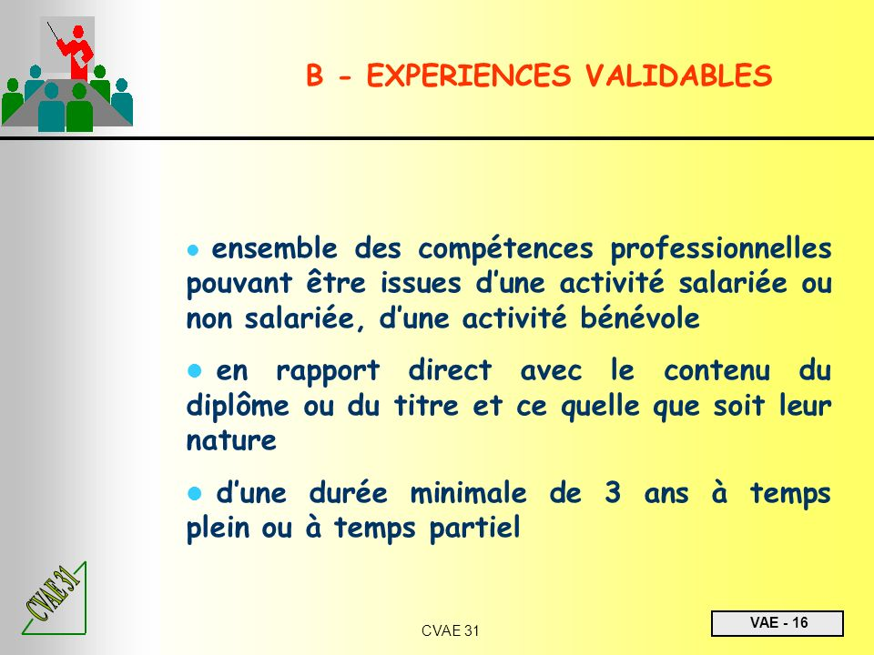 B - EXPERIENCES VALIDABLES
