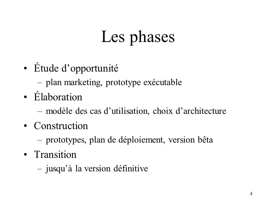 Les phases Étude d'opportunité Élaboration Construction Transition