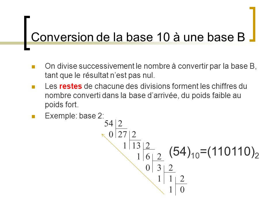 Conversion de la base 10 à une base B