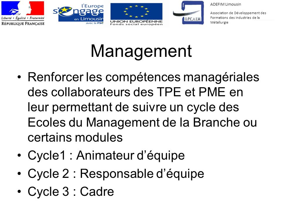 ADEFIM Limousin Association de Développement des Formations des Industries de la Métallurgie. Management.