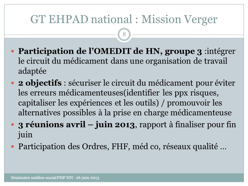 GT EHPAD national : Mission Verger