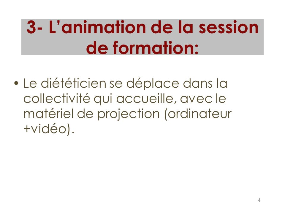 3- L'animation de la session de formation: