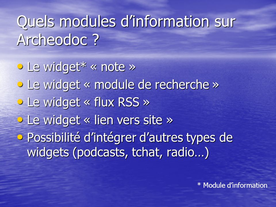 Quels modules d'information sur Archeodoc