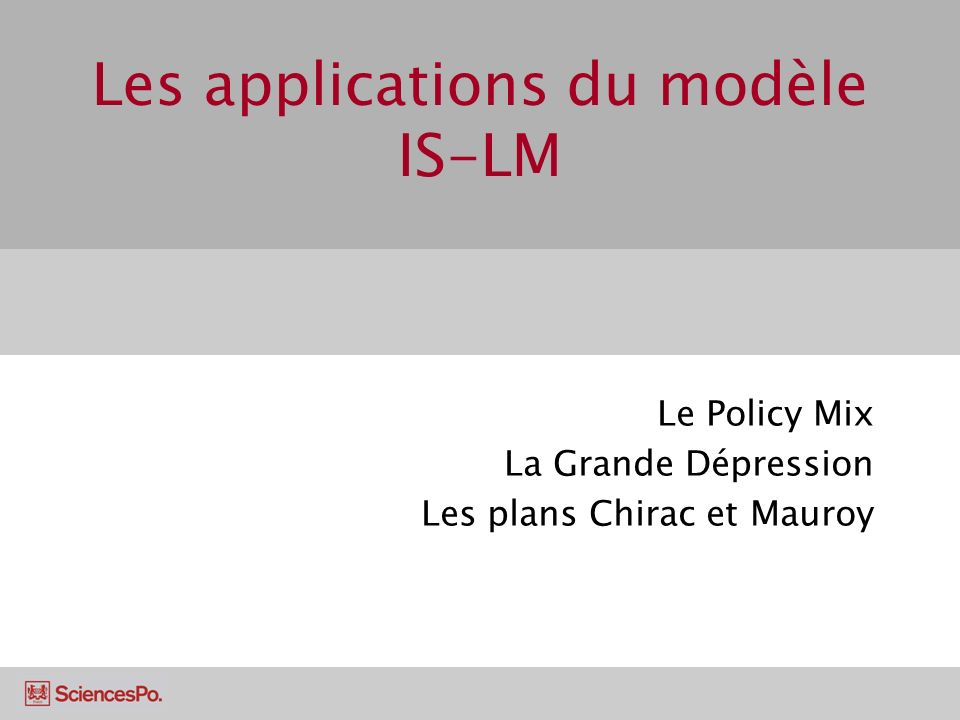 Les applications du modèle IS-LM