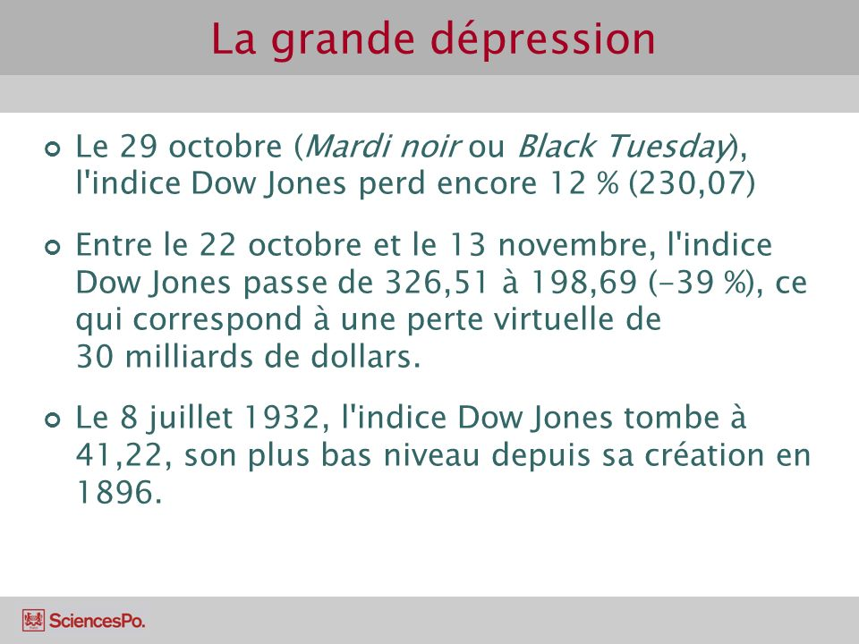 La grande dépression Le 29 octobre (Mardi noir ou Black Tuesday), l indice Dow Jones perd encore 12 % (230,07)