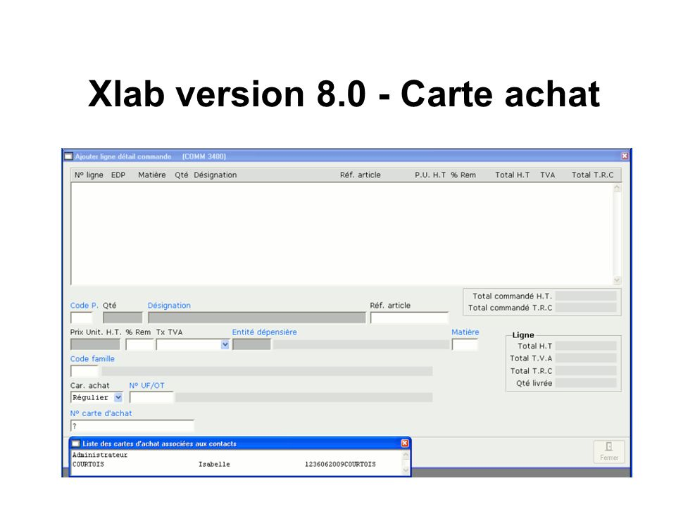 Xlab version Carte achat