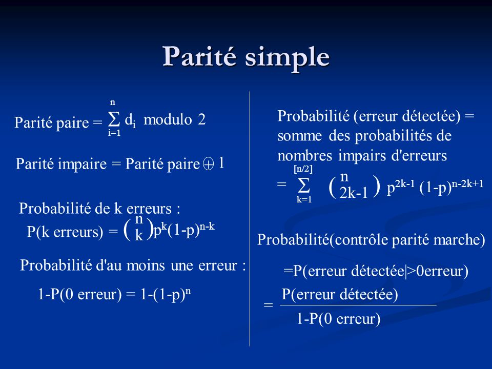 Parité simple ( ) p2k-1 (1-p)n-2k+1 ( )  
